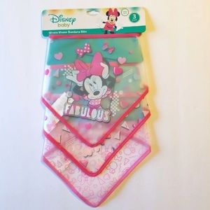 DISNEY MINNIE MOUSE SET OF 3 BANDANA BIBS